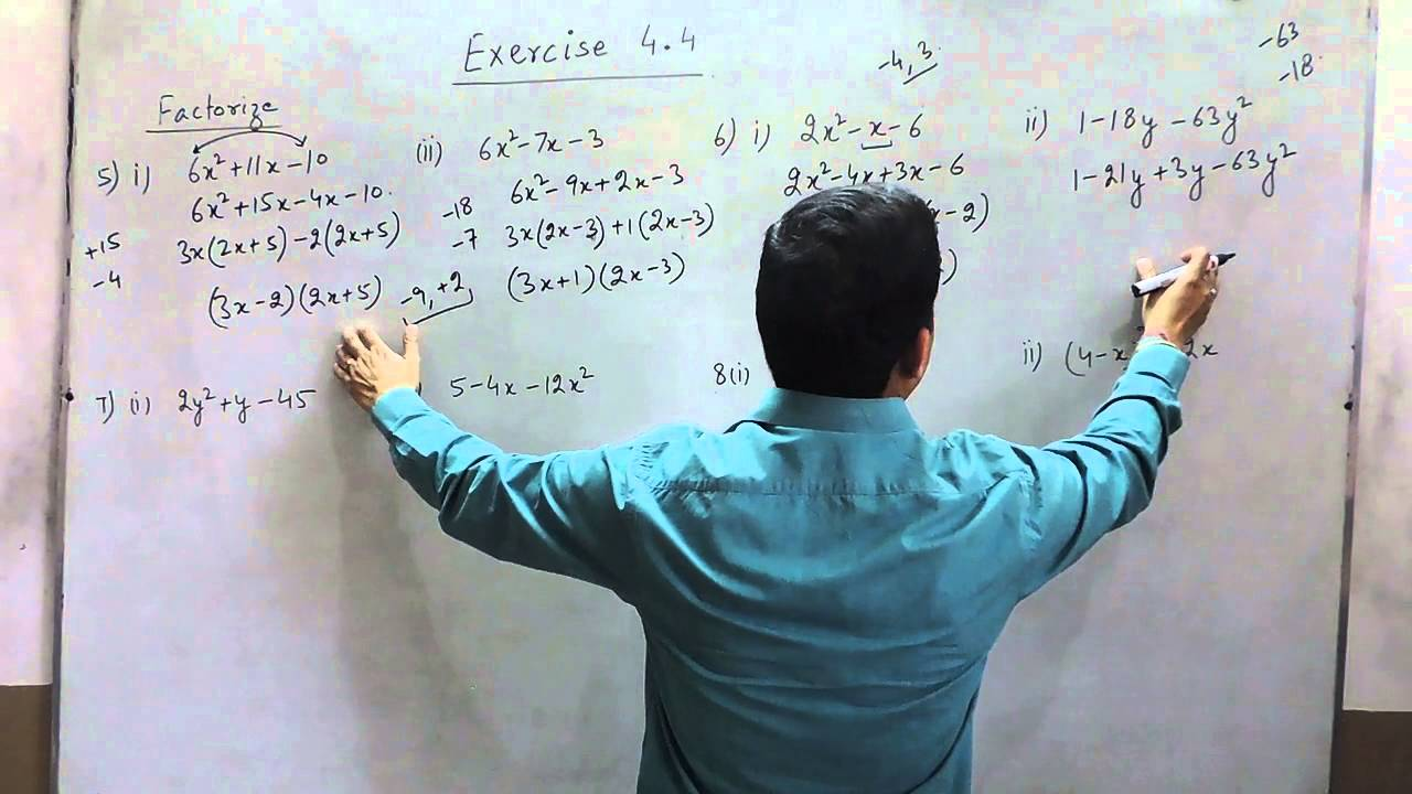Exercise 4.4 (Q5 - Q8) Solution for Class 9th Understanding ICSE ...