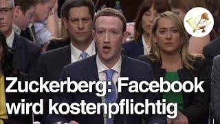 Mark Zuckerberg erklärt vor dem US-Kongress, dass Facebook kostenpflichtig wird
