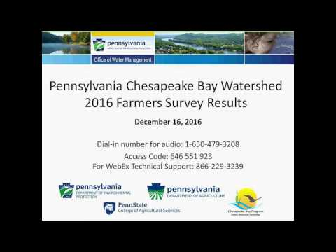 Webinar: 2016 Pennsylvania Chesapeake Bay Watershed Farmers Survey