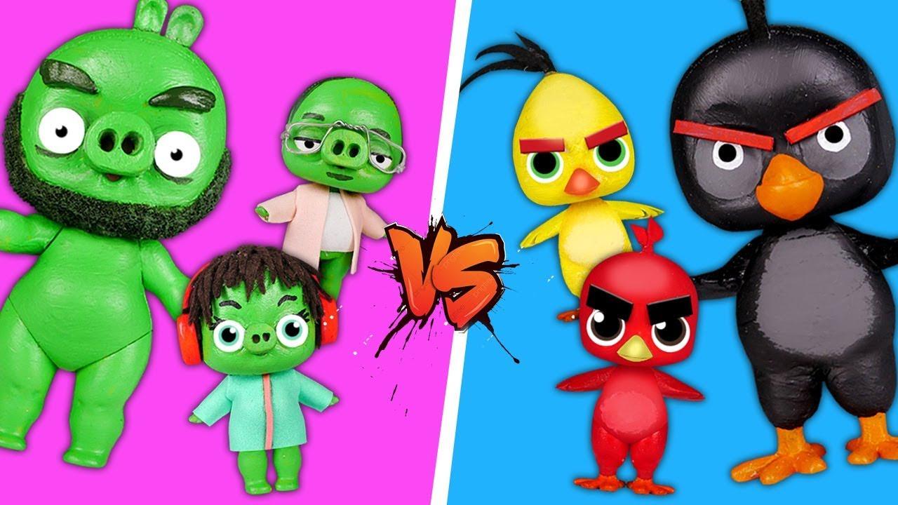 Куклы #ЛОЛ превратились в птичек и играют в #angrybirds в реальной жизни