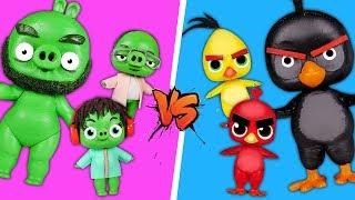Фото Куклы ЛОЛ превратились в птичек и играют в Angrybirds в реальной жизни