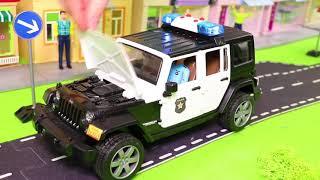 الحفار, الجرار, سيارة الإطفاء, شاحنات القمامة و سيارات الشرطة ومجموعة  Excavator Toys