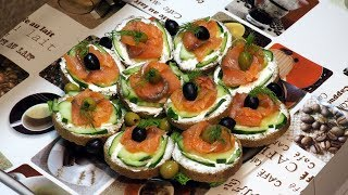 бутерброды с красной рыбой - отличная закуска!