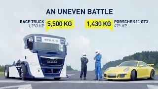 Porsche 911 GT3 (991) vs. Race Truck - an uneven battle