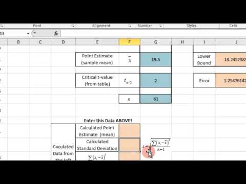 Construct a Confidence Interval on a Population Mean - Excel