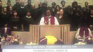 Bishop Thuston at Bishop Carlis Moody's Sr. Homegoing Clip 5- 1/18/19