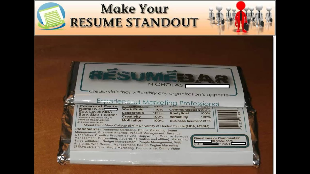 Candy Bar Wrapper Resume