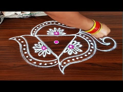 #SIMPLE FRIDAY PEACOCK RANGOLI DESIGN FOR BEGINNERS WITH 3DOTS MADE EASY TO DRAW FOR EVERYONE5DOTS