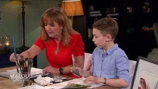 12-åriga konstnären Maximilian ställer ut hos Lars Lerin - Malou Efter tio (TV4)