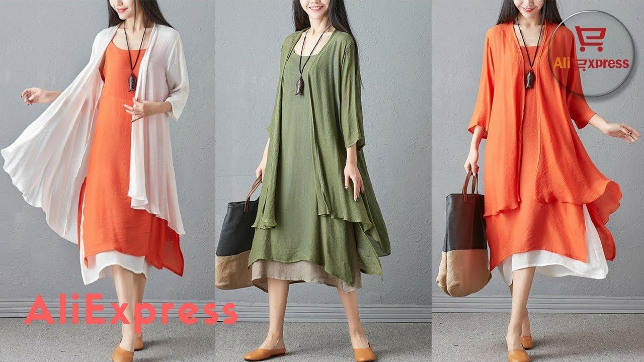 8fda9cd2a7a0cd Dress From AliExpress. 2pcs Set Women Cardigan Sleeveless Suit Female Folk  custom Vintage Dresses.