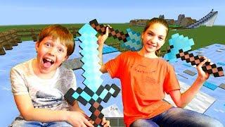 Кто круче в Minecraft? - Строим горки в Майнкрафт - Видео обзор.