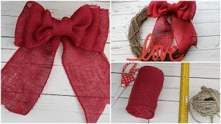 HOW TO MAKE A BURLAP RIBBON BOW | DIY EASY QUICK TUTORIAL - Today I...