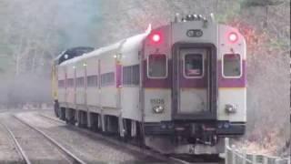 MBTA and CSX Trains in Ashland MA
