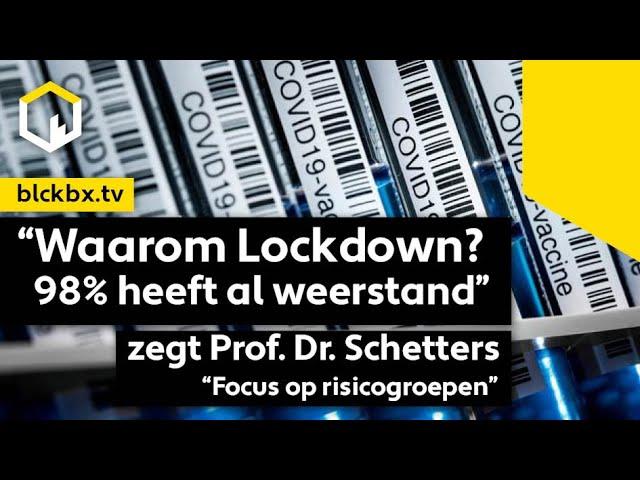 """""""Waarom Lockdown? 98% heeft weerstand. Focus op risicogroepen"""" zegt Prof. Dr. Theo Schetters"""