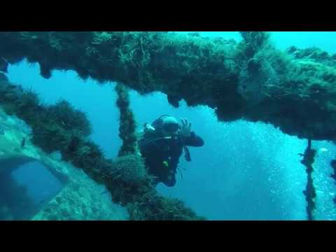 Scuba Diving a freighter ship wreck off the coast on Punta Cana in the Dominican Republic