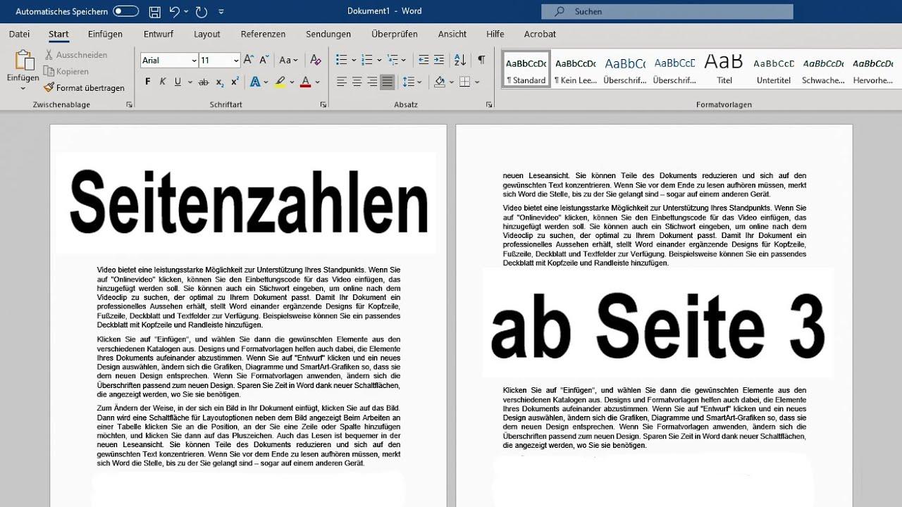 Word Seitenzahlen Ab Seite 3