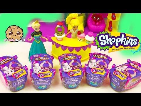 Disney Frozen Queen Elsa Unboxing 5 Shopkins Fashion Spree Surprise Blind Bags - Cookieswirlc Video