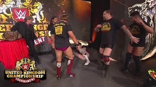 Pete Dunne attacks Sam Gradwell at the end of the first night of the WWE United Kingdom Tournament