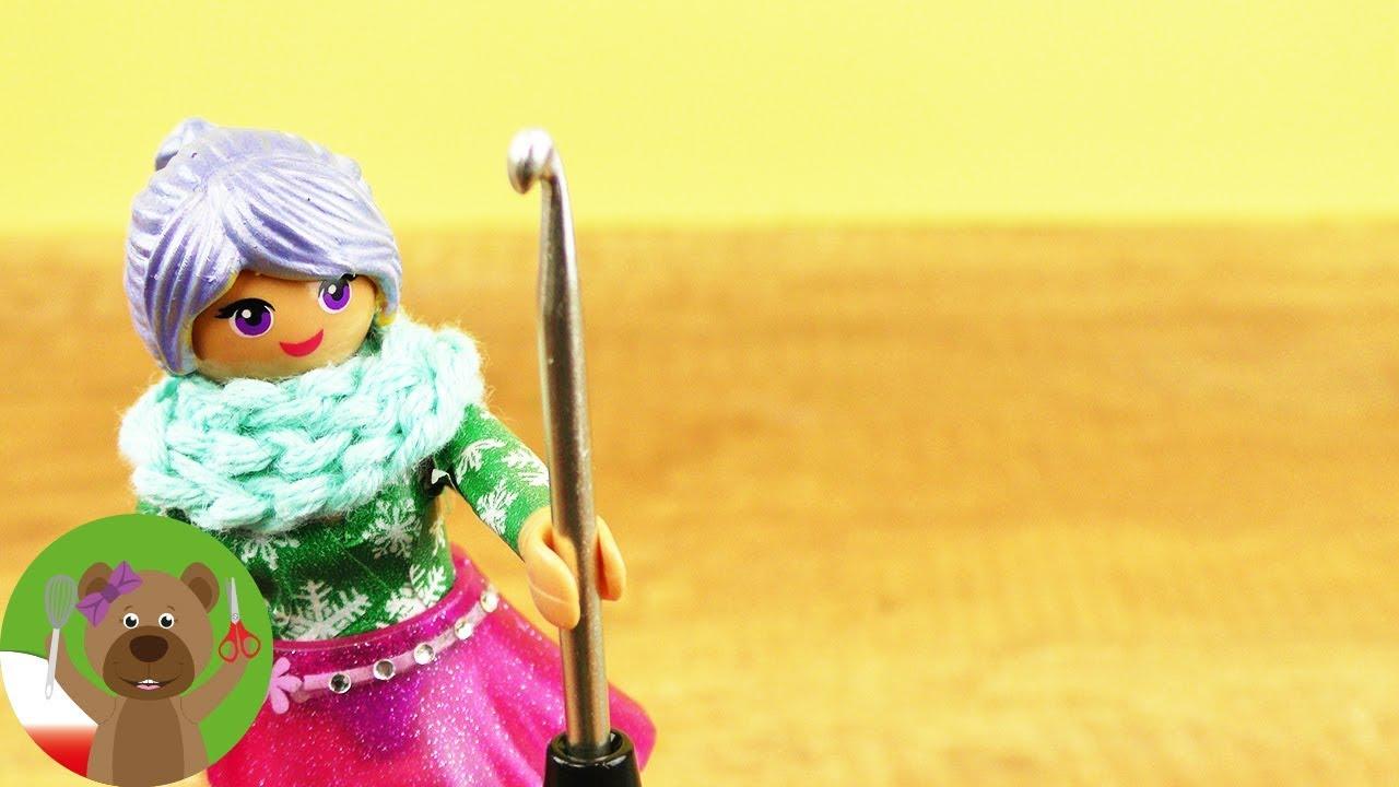 Szydełkowanie dla dzieci   DIY Playmobil   zimowy szal dla Stelli na szydełku