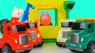 Peppa Pig - PURPLE SAND! Toy Trucks & Tractors LEGO House Play Doh Toys for Kids. Videos for kids