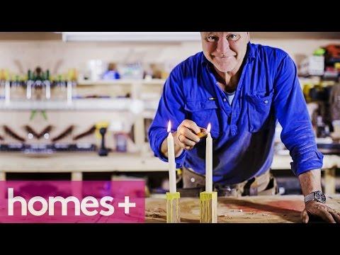 SCOTT CAM DIY: Timber paint-drip candleholders - homes+