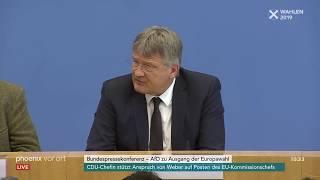 Pressekonferenz der AfD zu den Ergebnissen vonEuropawahl und Bremenwahl am 27.05.19