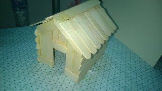 DIY - Popsicle Stick House Craft Tutorial