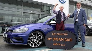 Winner Bryan Green collects his Volkswagen Golf R Estate Performance Pack