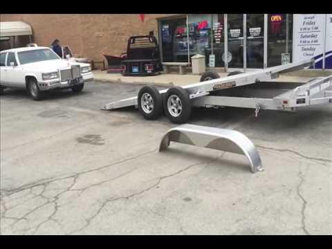 Loading a Cadillac on an Aluma trailer 8216 Tilt deck car hauler super lite