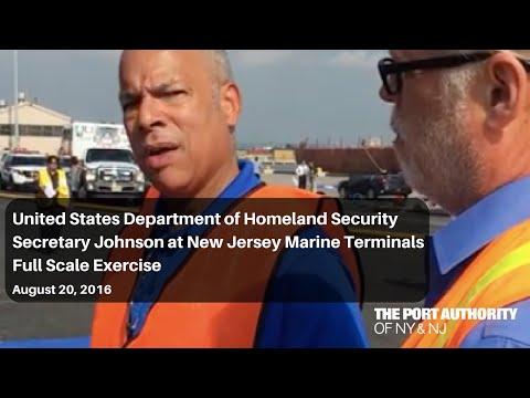 USDHS Secretary Johnson at NJ Marine Terminals Emergency Response Drill