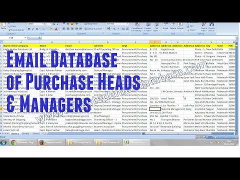 Indian Email Database of Purchase Managers- Live Demo of Original File