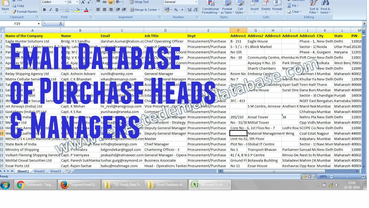 Email Database of Purchase Managers & Purchase Heads