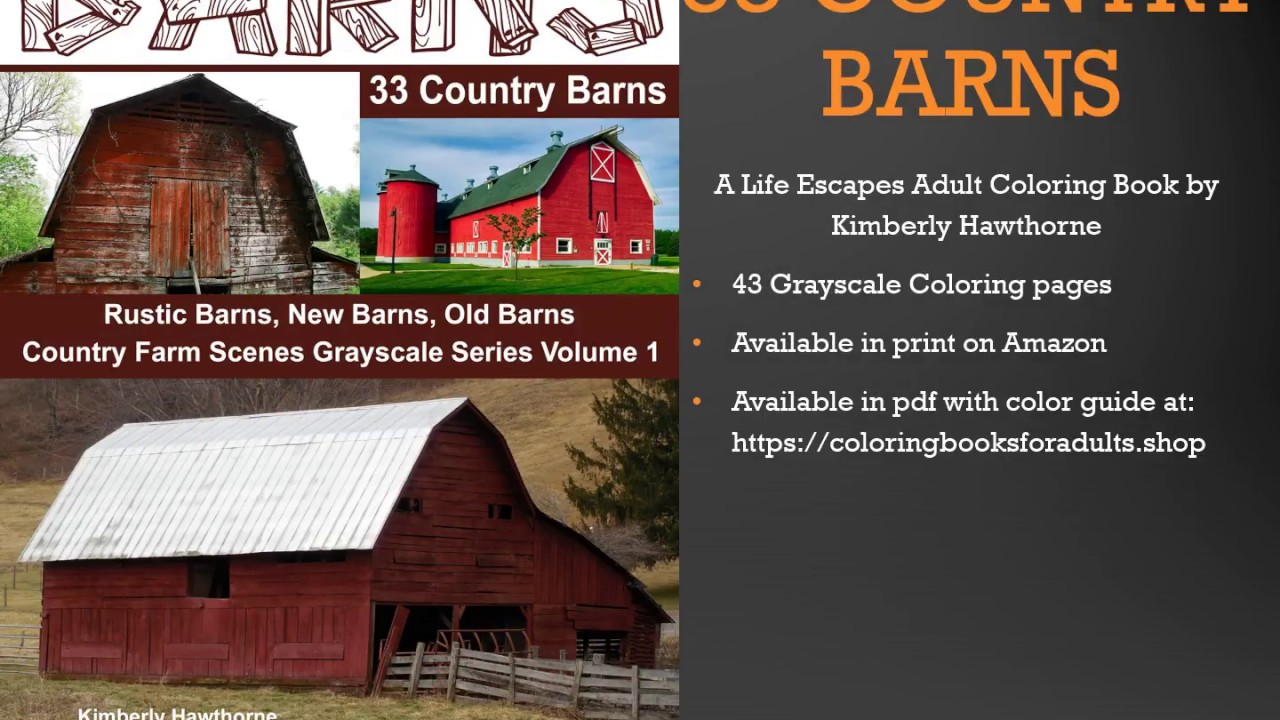 33 Country Barns Adult Coloring Book Flip Thru Youtube