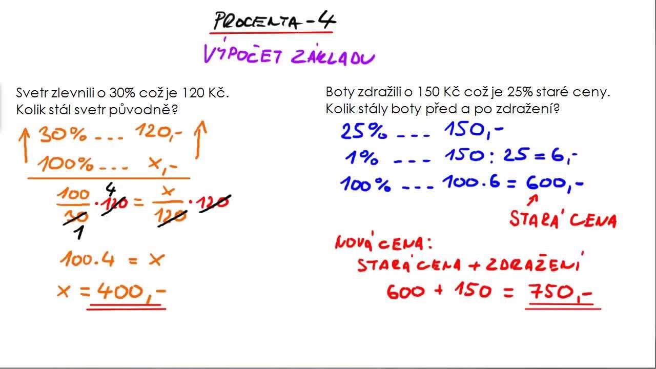 Výpočet základu procenta
