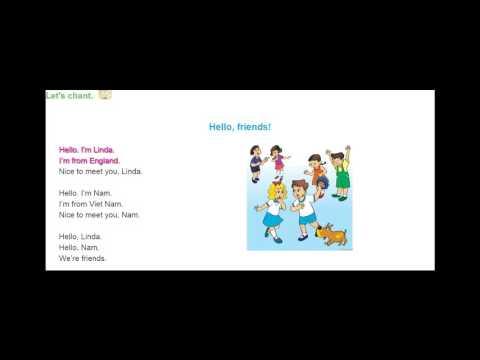"""Bài hát """"Hello friends""""-Tiếng Anh lớp 4"""
