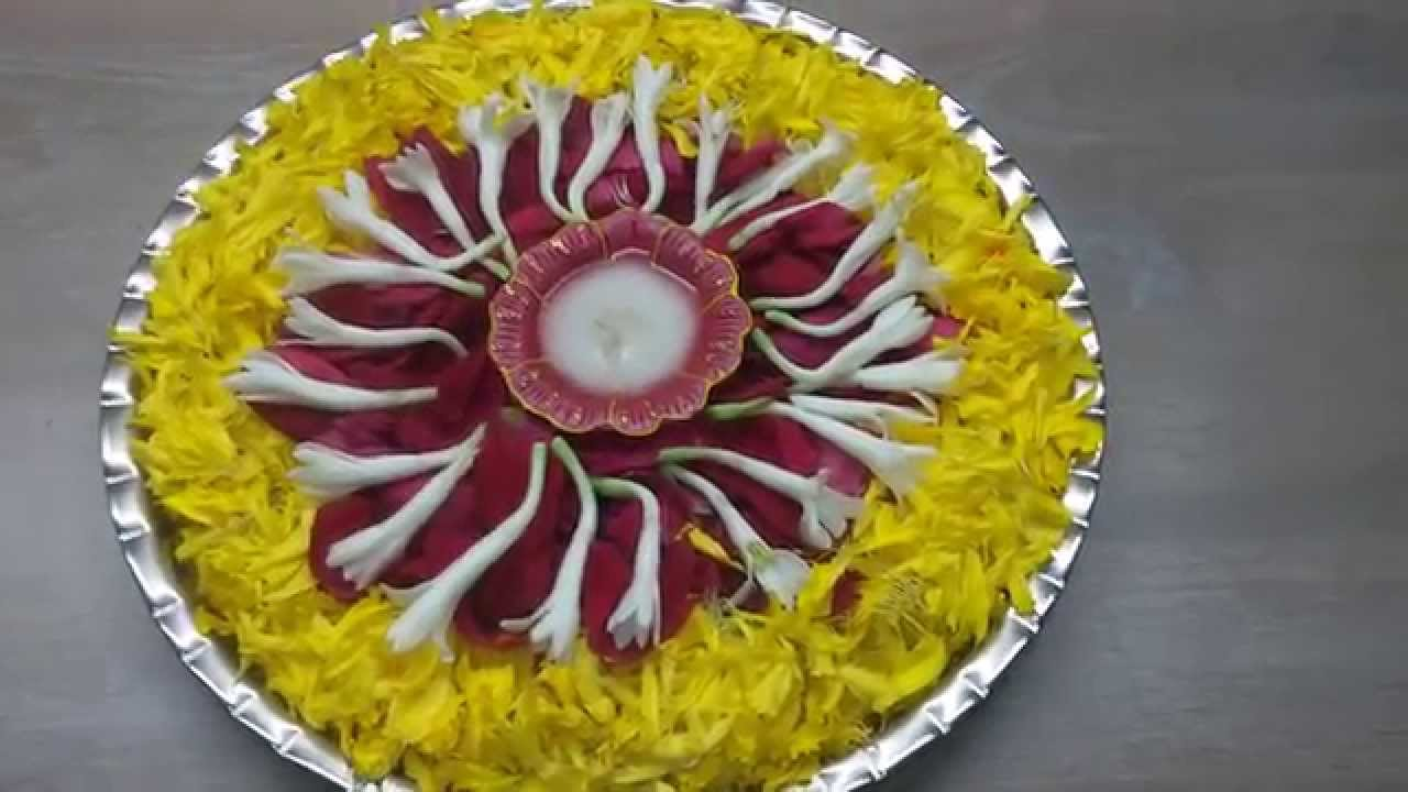 Pooja thali decorated with flowers youtube for Aarti thali decoration ideas for ganpati