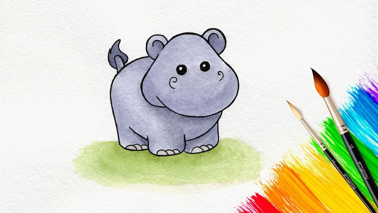 Uncategorized How To Draw A Cute Hippo how to draw a cute cartoon hippo youtube hippo