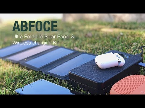 ABFOCE: Ultra Foldable Solar Panel & Wireless Charger Kit