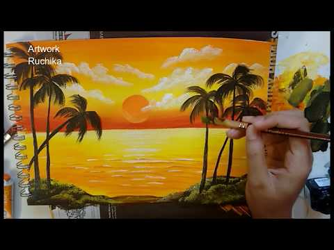 Sunset in the Ocean | Acrylic Painting | Simple Landscape Painting
