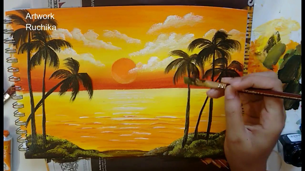 Sunset In The Ocean Acrylic Painting Simple Landscape Painting Youtube