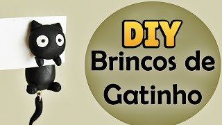 ♥ DIY: Como Fazer Brincos de Gatinho ( How to Make Black Cat Earrings) ♥ #diycute