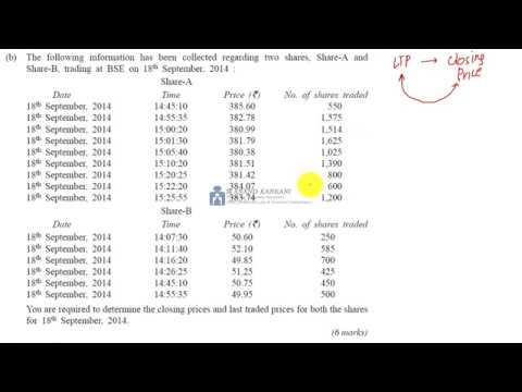 CALCULATION OF CLOSING PRICE ON STOCK EXCHANGE