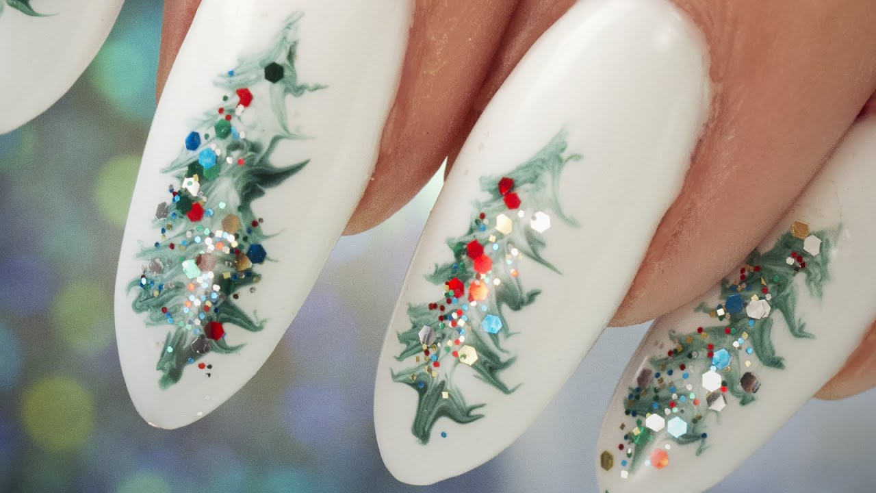 Christmas Tree Nail Art Step By Step Tutorial Youtube
