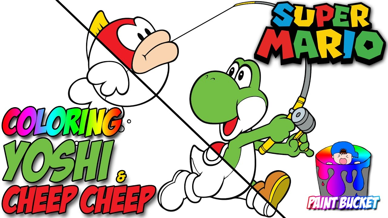 Yoshi and Cheep Cheep Coloring Pages - Super Mario Coloring Book ...