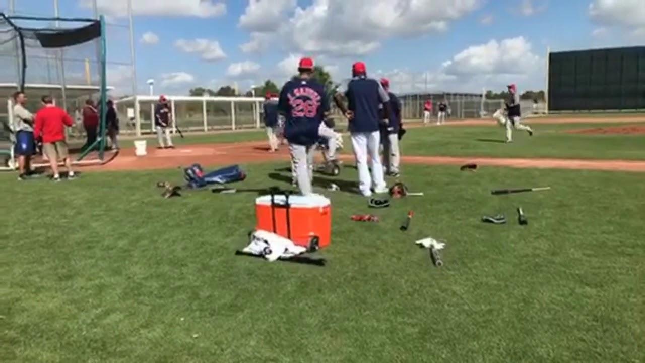 David Ortiz, J.D. Martinez, Dustin Pedroia at Red Sox camp talk hitting techniques