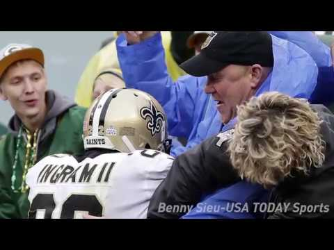 Mark Ingram finds Saints fan with Lambeau Leap