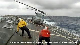 Astonishing Skill: Military Helicopter Landing on Ship Deck in Rough Seas