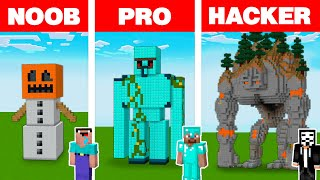 Minecraft NOOB vs PRO vs HACKER: GOLEM STATUE HOUSE BUILD CHALLENGE in Minecraft Animation