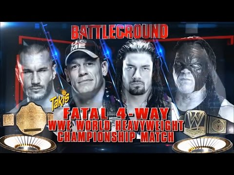 John Cena vs Kane, Randy Orton and Roman Reigns WWE Battleground 2014 - WWE SMACKDOWN FULL SHOW