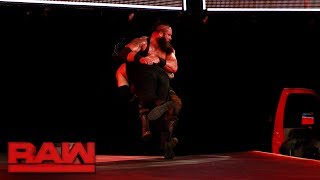 Roman Reigns Spears Braun Strowman off the stage: Raw, July 3, 2017